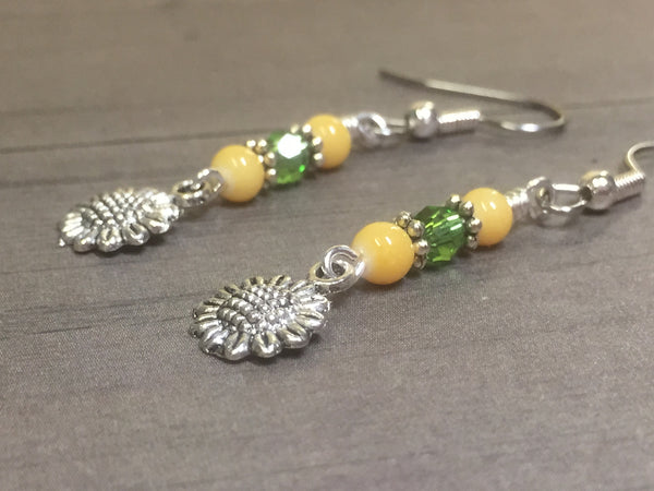 Sunflower Dangle Earrings , jewelry - Jill's Beaded Knit Bits, Jill's Beaded Knit Bits  - 1