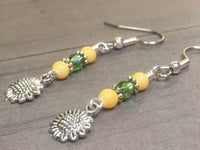Sunflower Dangle Earrings , jewelry - Jill's Beaded Knit Bits, Jill's Beaded Knit Bits  - 3