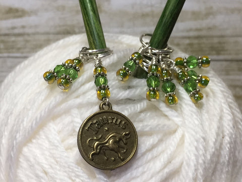 Taurus Zodiac Sign Stitch Marker Set Scorpio- 9 Pieces , Stitch Markers - Jill's Beaded Knit Bits, Jill's Beaded Knit Bits  - 1