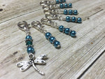 Teal Dragonfly Crochet Stitch Marker Set- Removable Clip On Markers , Stitch Markers - Jill's Beaded Knit Bits, Jill's Beaded Knit Bits  - 3