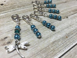 Teal Dragonfly Crochet Stitch Marker Set- Removable Clip On Markers , Stitch Markers - Jill's Beaded Knit Bits, Jill's Beaded Knit Bits  - 4