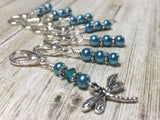 Teal Dragonfly Crochet Stitch Marker Set- Removable Clip On Markers , Stitch Markers - Jill's Beaded Knit Bits, Jill's Beaded Knit Bits  - 1
