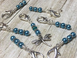 Teal Dragonfly Crochet Stitch Marker Set- Removable Clip On Markers , Stitch Markers - Jill's Beaded Knit Bits, Jill's Beaded Knit Bits  - 6