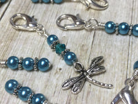 Teal Dragonfly Crochet Stitch Marker Set- Removable Clip On Markers , Stitch Markers - Jill's Beaded Knit Bits, Jill's Beaded Knit Bits  - 2