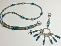 Dragonfly Stitch Marker Necklace Lanyard , Jewelry - Jill's Beaded Knit Bits, Jill's Beaded Knit Bits  - 2