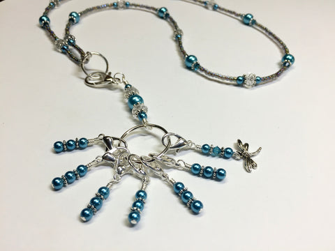 Dragonfly Stitch Marker Necklace Lanyard , Jewelry - Jill's Beaded Knit Bits, Jill's Beaded Knit Bits  - 5