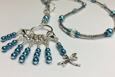 Dragonfly Stitch Marker Necklace Lanyard , Jewelry - Jill's Beaded Knit Bits, Jill's Beaded Knit Bits  - 8