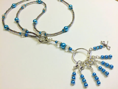 Dragonfly Stitch Marker Necklace Lanyard