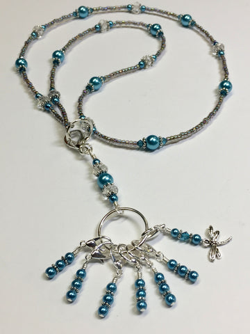 Dragonfly Stitch Marker Necklace Lanyard , Jewelry - Jill's Beaded Knit Bits, Jill's Beaded Knit Bits  - 9