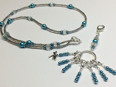 Dragonfly Stitch Marker Necklace Lanyard , Jewelry - Jill's Beaded Knit Bits, Jill's Beaded Knit Bits  - 10