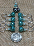 Teal Stitch Markers-Lamp Work Bead , Stitch Markers - Jill's Beaded Knit Bits, Jill's Beaded Knit Bits  - 3