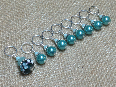 Teal Stitch Markers-Lamp Work Bead , Stitch Markers - Jill's Beaded Knit Bits, Jill's Beaded Knit Bits  - 1
