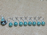 Teal Stitch Markers-Lamp Work Bead , Stitch Markers - Jill's Beaded Knit Bits, Jill's Beaded Knit Bits  - 2