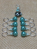 Teal Stitch Markers-Lamp Work Bead , Stitch Markers - Jill's Beaded Knit Bits, Jill's Beaded Knit Bits  - 4