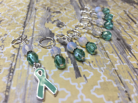 Teal Awareness Ribbon Stitch Marker Set- Ovarian Cancer , Stitch Markers - Jill's Beaded Knit Bits, Jill's Beaded Knit Bits  - 3