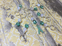 Teal Awareness Ribbon Stitch Marker Set- Ovarian Cancer , Stitch Markers - Jill's Beaded Knit Bits, Jill's Beaded Knit Bits  - 5