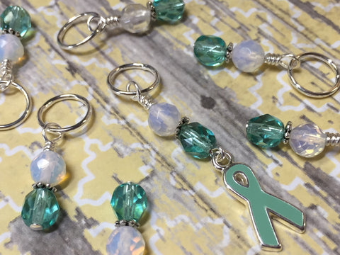 Teal Awareness Ribbon Stitch Marker Set- Ovarian Cancer , Stitch Markers - Jill's Beaded Knit Bits, Jill's Beaded Knit Bits  - 6