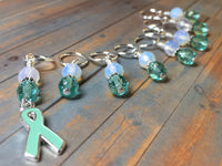 Teal Awareness Ribbon Stitch Marker Set- Ovarian Cancer , Stitch Markers - Jill's Beaded Knit Bits, Jill's Beaded Knit Bits  - 7