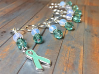 Teal Awareness Ribbon Stitch Marker Set- Ovarian Cancer , Stitch Markers - Jill's Beaded Knit Bits, Jill's Beaded Knit Bits  - 4