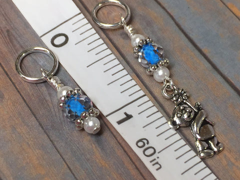 Blue Teddy Bear Stitch Marker Set , Stitch Markers - Jill's Beaded Knit Bits, Jill's Beaded Knit Bits  - 5