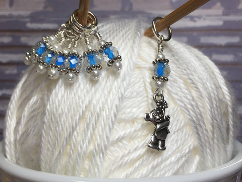 Blue Teddy Bear Stitch Marker Set , Stitch Markers - Jill's Beaded Knit Bits, Jill's Beaded Knit Bits  - 6