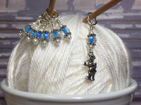 Blue Teddy Bear Stitch Marker Set , Stitch Markers - Jill's Beaded Knit Bits, Jill's Beaded Knit Bits  - 7