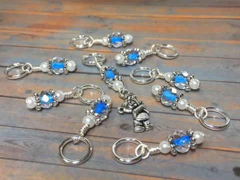 Blue Teddy Bear Stitch Marker Set , Stitch Markers - Jill's Beaded Knit Bits, Jill's Beaded Knit Bits  - 8