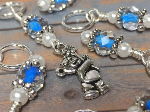 Blue Teddy Bear Stitch Marker Set , Stitch Markers - Jill's Beaded Knit Bits, Jill's Beaded Knit Bits  - 2