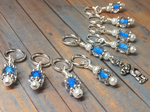 Blue Teddy Bear Stitch Marker Set , Stitch Markers - Jill's Beaded Knit Bits, Jill's Beaded Knit Bits  - 9