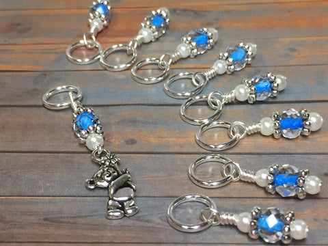 Blue Teddy Bear Stitch Marker Set , Stitch Markers - Jill's Beaded Knit Bits, Jill's Beaded Knit Bits  - 1