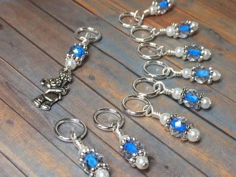 Blue Teddy Bear Stitch Marker Set , Stitch Markers - Jill's Beaded Knit Bits, Jill's Beaded Knit Bits  - 3