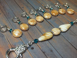 Knitting Bag Lanyard & Stitch Markers- Honey Teal Texture , Stitch Markers - Jill's Beaded Knit Bits, Jill's Beaded Knit Bits  - 8