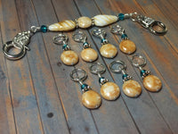 Knitting Bag Lanyard & Stitch Markers- Honey Teal Texture , Stitch Markers - Jill's Beaded Knit Bits, Jill's Beaded Knit Bits  - 10