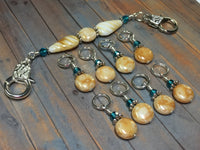 Knitting Bag Lanyard & Stitch Markers- Honey Teal Texture , Stitch Markers - Jill's Beaded Knit Bits, Jill's Beaded Knit Bits  - 2