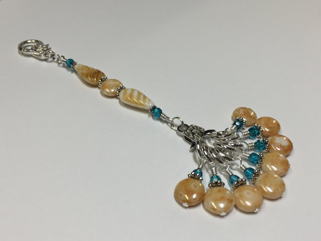 Knitting Bag Lanyard & Stitch Markers- Honey Teal Texture , Stitch Markers - Jill's Beaded Knit Bits, Jill's Beaded Knit Bits  - 1
