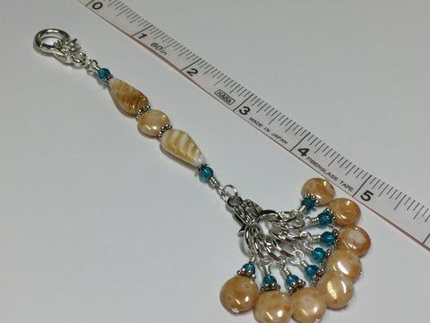 Knitting Bag Lanyard & Stitch Markers- Honey Teal Texture , Stitch Markers - Jill's Beaded Knit Bits, Jill's Beaded Knit Bits  - 7