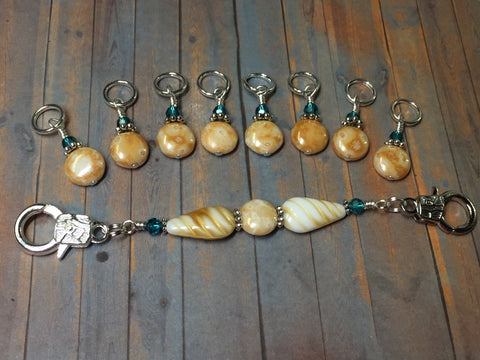 Knitting Bag Lanyard & Stitch Markers- Honey Teal Texture , Stitch Markers - Jill's Beaded Knit Bits, Jill's Beaded Knit Bits  - 4