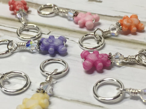 Tiny Teddy Bear Stitch Markers & Holder , Stitch Markers - Jill's Beaded Knit Bits, Jill's Beaded Knit Bits  - 1