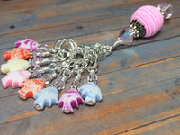 Tiny Fish Stitch Markers & Beaded Holder , Stitch Markers - Jill's Beaded Knit Bits, Jill's Beaded Knit Bits  - 4