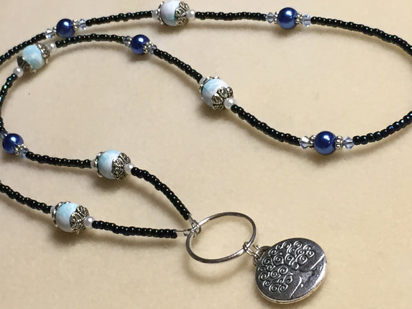 Tree of Life Beaded Eyeglasses Lanyard , Jewelry - Jill's Beaded Knit Bits, Jill's Beaded Knit Bits  - 1