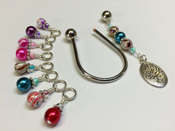 Tree of Life Stitch Marker Set with Horseshoe Holder , Stitch Markers - Jill's Beaded Knit Bits, Jill's Beaded Knit Bits  - 1