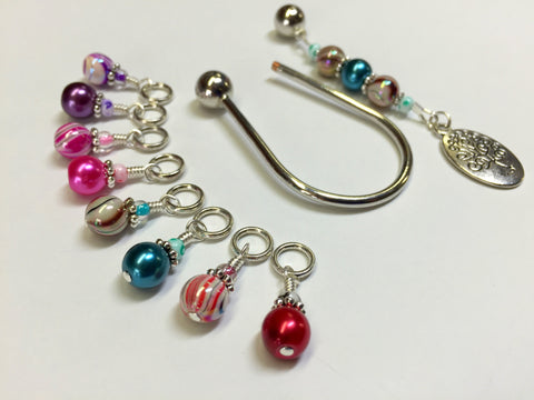 Tree of Life Stitch Marker Set with Horseshoe Holder , Stitch Markers - Jill's Beaded Knit Bits, Jill's Beaded Knit Bits  - 6