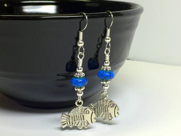 Tropical Fish Wire Dangle Earrings , jewelry - Jill's Beaded Knit Bits, Jill's Beaded Knit Bits  - 1
