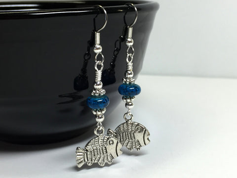 Tropical Fish Wire Dangle Earrings , jewelry - Jill's Beaded Knit Bits, Jill's Beaded Knit Bits  - 3