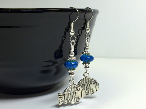 Tropical Fish Wire Dangle Earrings , jewelry - Jill's Beaded Knit Bits, Jill's Beaded Knit Bits  - 2