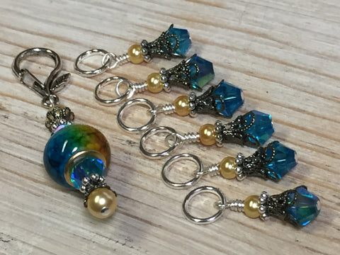 Golden Turquoise Ombre Stitch Marker Set with Clip Holder , Stitch Markers - Jill's Beaded Knit Bits, Jill's Beaded Knit Bits  - 3