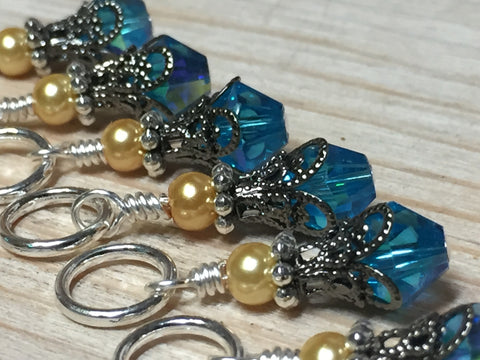 Golden Turquoise Ombre Stitch Marker Set with Clip Holder , Stitch Markers - Jill's Beaded Knit Bits, Jill's Beaded Knit Bits  - 4