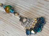 Golden Turquoise Ombre Stitch Marker Set with Clip Holder , Stitch Markers - Jill's Beaded Knit Bits, Jill's Beaded Knit Bits  - 2
