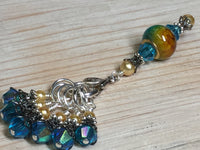 Golden Turquoise Ombre Stitch Marker Set with Clip Holder , Stitch Markers - Jill's Beaded Knit Bits, Jill's Beaded Knit Bits  - 1