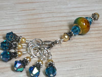 Golden Turquoise Ombre Stitch Marker Set with Clip Holder , Stitch Markers - Jill's Beaded Knit Bits, Jill's Beaded Knit Bits  - 7